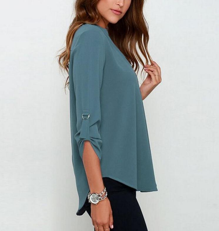 HTB1iF6qulyWBuNkSmFPq6xguVXaK - Autumn Women V-neck Chiffon Blouse 3/4 Sleeve Female Solid Casual Shirt Large Size Feminina Camisas Blusas Plus Size