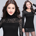2016 Autumn Women Tops Elegant Long Sleeve Shirts Lace Crochet Blouse Slim Turtleneck Shirt Black Women Clothing Plus Size Blusa