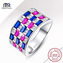 Merthus Multi-Stoone & Whiter CZ 100% 925 Sterling Sliver Ring Party Cocktail Finger Band Ring Size 6 7 8 9 With Jewlery Box