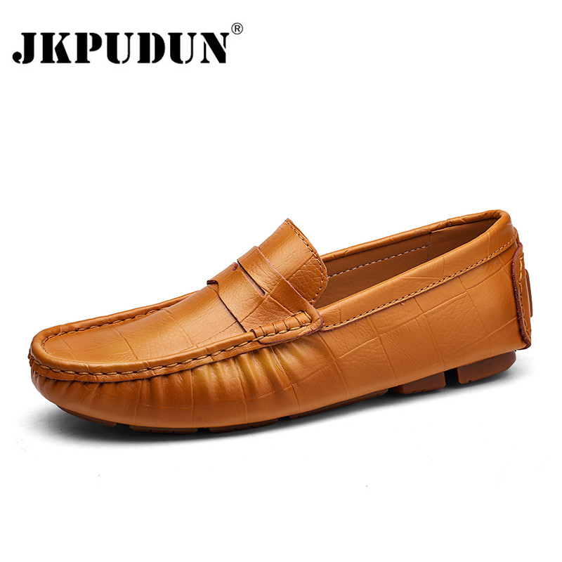 JKPUDUN Large Size Genuine Leather Men Loafers 2018 Breathable Soft Mens Moccasins Fashion Brand Casual Man Flats Driving Shoes