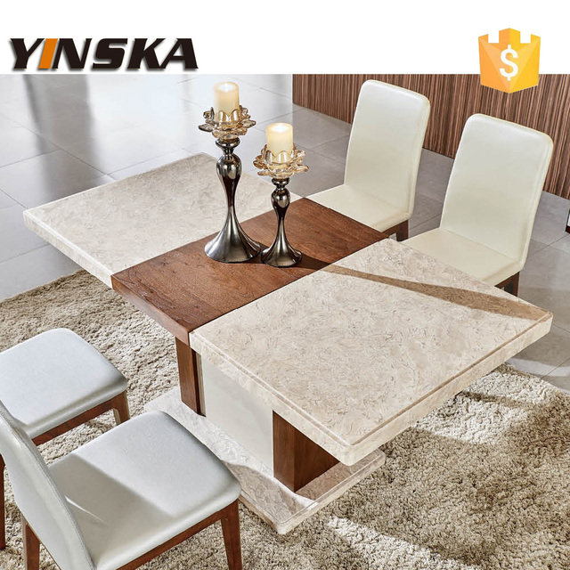 6 Person Marble Table For Long Measure, Natural Stone Dining Table And  Dining Chair