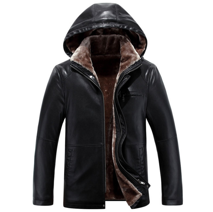 Russian Winter Minus 30 Degrees Faux Leather Jackets Men Hooded Thicken Warm Leather Coat Top Quality Luxury Leather Jackets Men