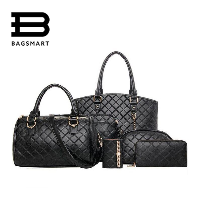 ФОТО BAGSMART 6 pcs/set Women Bag For Office Ladies Women's Messenger Bags Quilted Handbags Tote Shoulder Key Purse Phone Wallet Bags