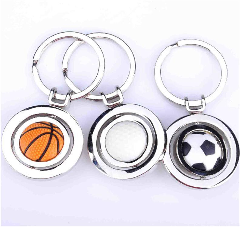 Metal basketball football Golf key ring souvenir gift souvenir ball key ring rotary ball type key ring ROHS zinc alloy