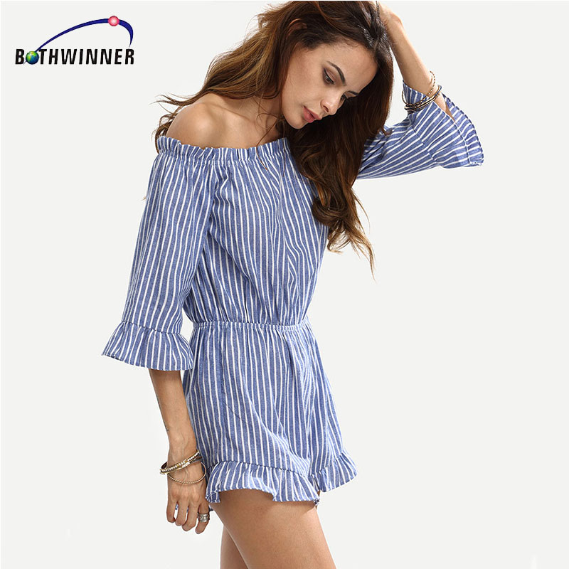 Bothwinnwer Sexy Off Shoulder Blue Striped Women Jumpsuit Romper Summer Style Beach Short Playsuit Casual Girls Macacao Overalls