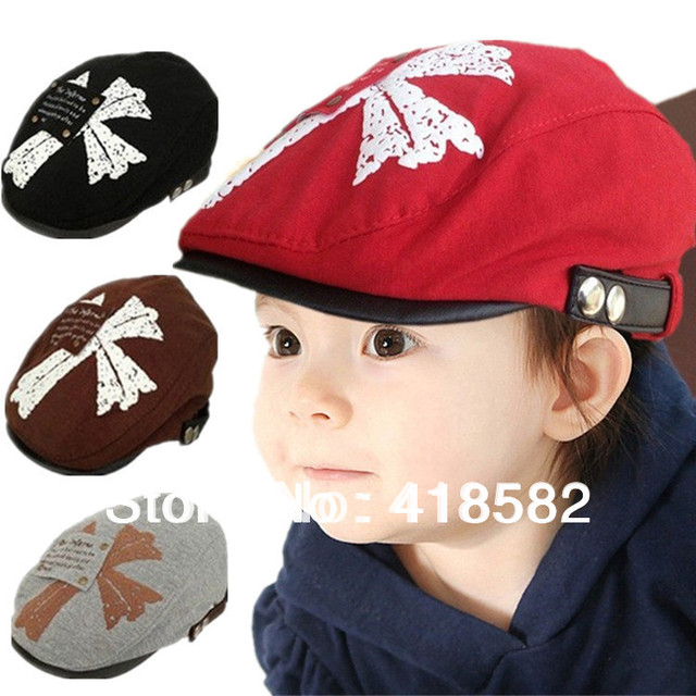 NXM008-- Fashion hot sale baby beret hat  the leaves pattern kids cap top quality cottonCaps Free shipping