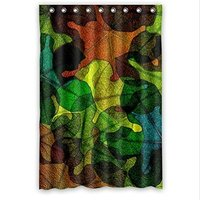 Curtain Colorful Stained Glass Leaves Pattern Design Stained Glass Custom Polyester Waterproof Shower Curtain 48 X