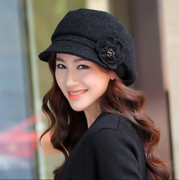 New Arrival autumn winter women Woolen beret lady flower  fashion cap gentlewomen fashion cap thermal painter cap Beret Gorras