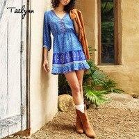 29cb3243d21a9 TEELYNN mini boho dress 2019 rayon Floral print dresses o neck summer beach  wear Hippie short for women vestido