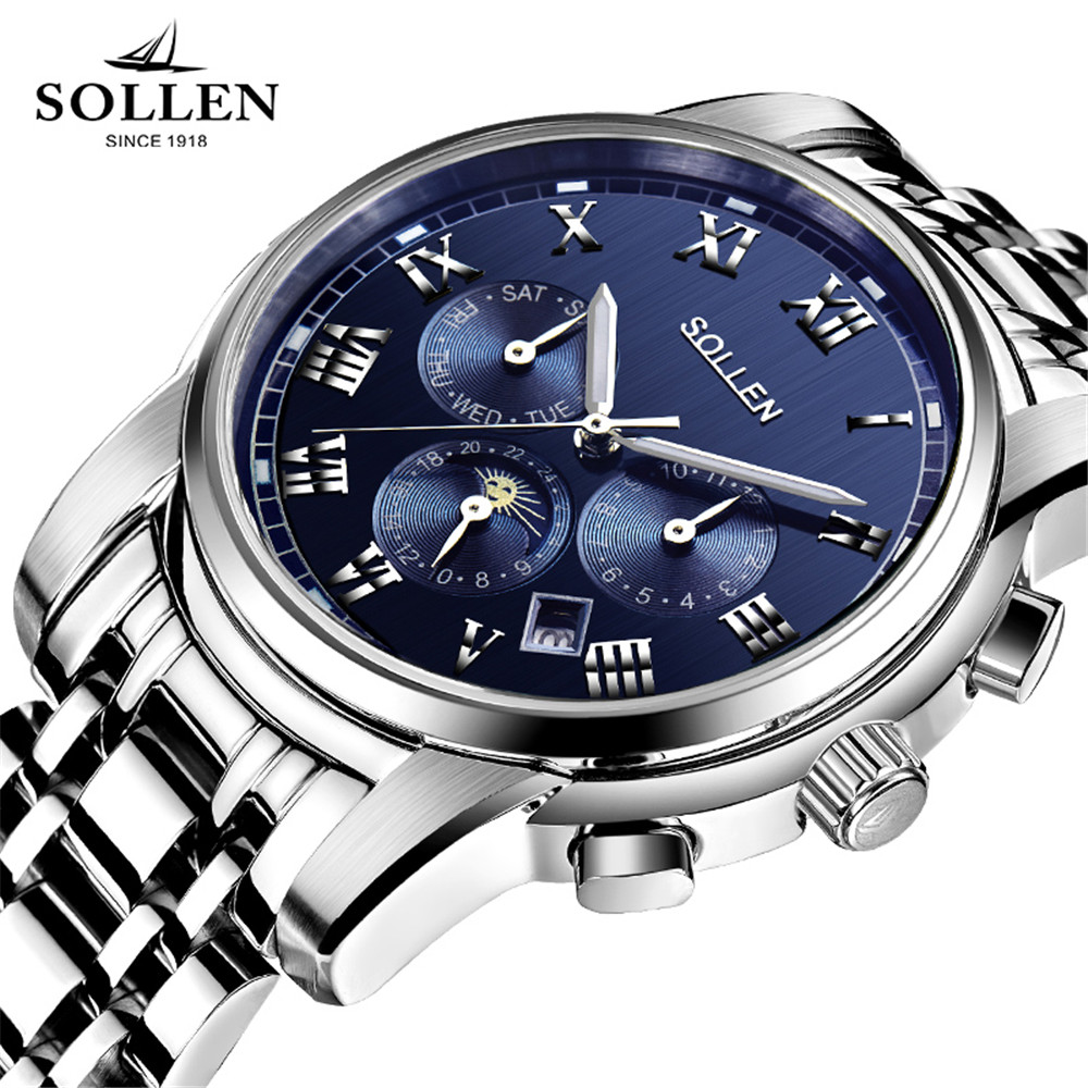 SOLLEN New 2017 Top Luxury Brand Men's Automatic Mechanical Watches Moon Phase Fashion Business Sports Stainless Steel Watch saimi skdh145 12 145a 1200v brand new original three phase controlled rectifier bridge module
