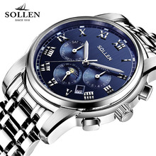 SOLLEN New 2017 Top Luxury Brand Men's Automatic Mechanical Watches Moon Phase Fashion Business Sports Stainless Steel Watch