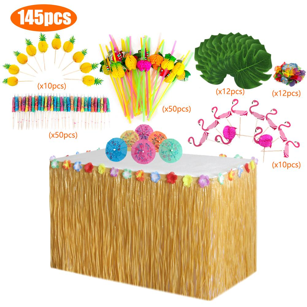 Hawaiian Table Skirt Decoration Set For Wedding Party Table Decoration Home Textile Tablecloths Accessories Flamingo 4