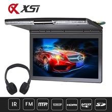17.3 Inch Auto Plafond Monitor 1920x1080 MP5 Flip Omlaag Dak Monteren Auto DVD Speler met IR Fm zender HDMI USB SD Speaker Games