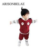 ARISONBELAE Addensare Bambino Felpe Imposta Panda Sveglio Del Fumetto Dei Bambini di Modo Costume Inverno Natale 4 pz Bambini Pullover Felpa