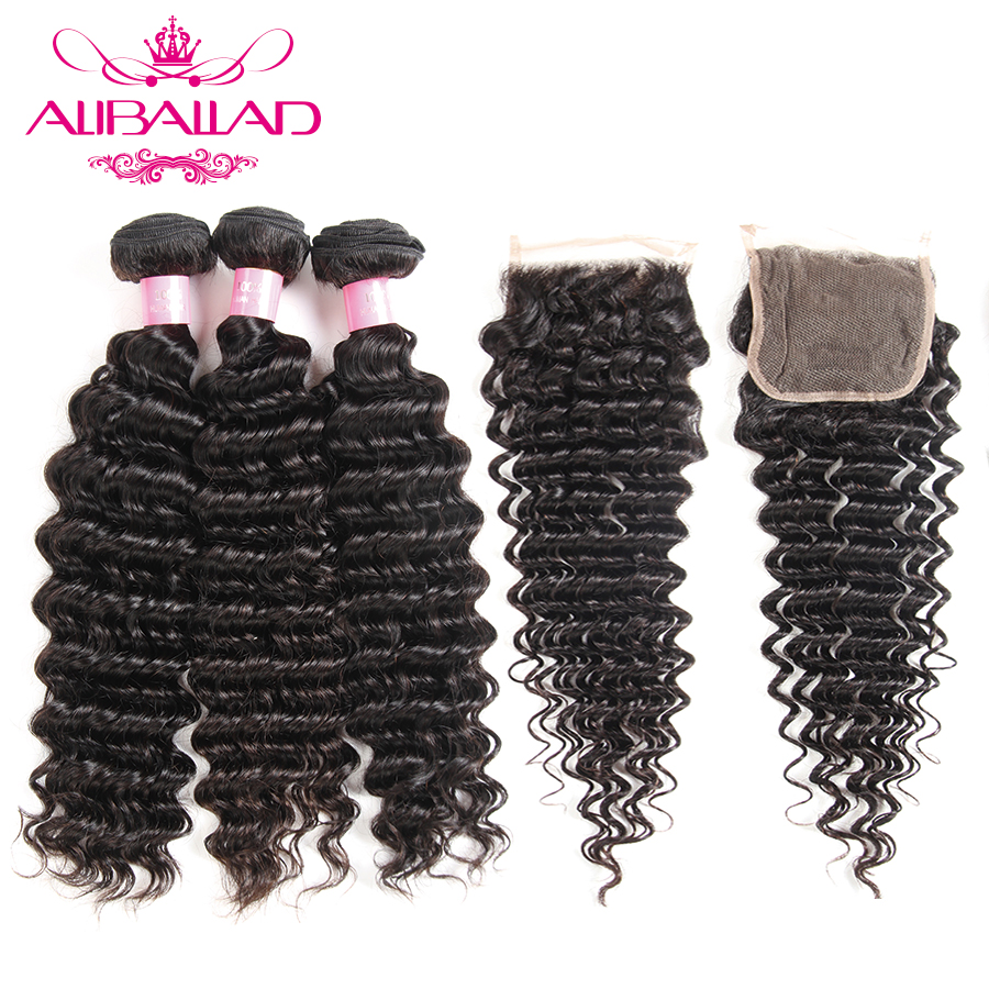 Aliballad Malaysian Deep Wave Bundles With Closure 4*4 Inches Non Remy Human Hair 3 Bundles Hair Extensions With Lace Closure