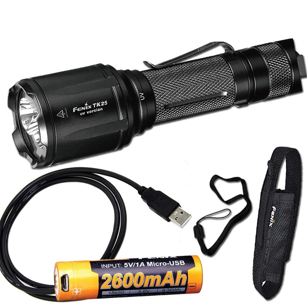 Fenix TK25 UV 1000 Lumens white/3000mW ultra violet (UV) Dual Beam LED Flashlight (TK25UV) with ARB-L18-2600U Battery,USB Cable