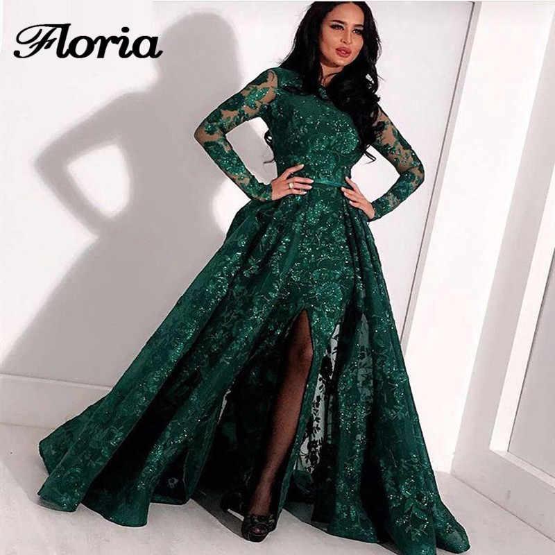 Pailletten Long Sleeves Abendkleider Muslimischen Grün Split Formale Prom Kleid Afrikanische Partei Kleider Mit Detach Rock Robe de soiree