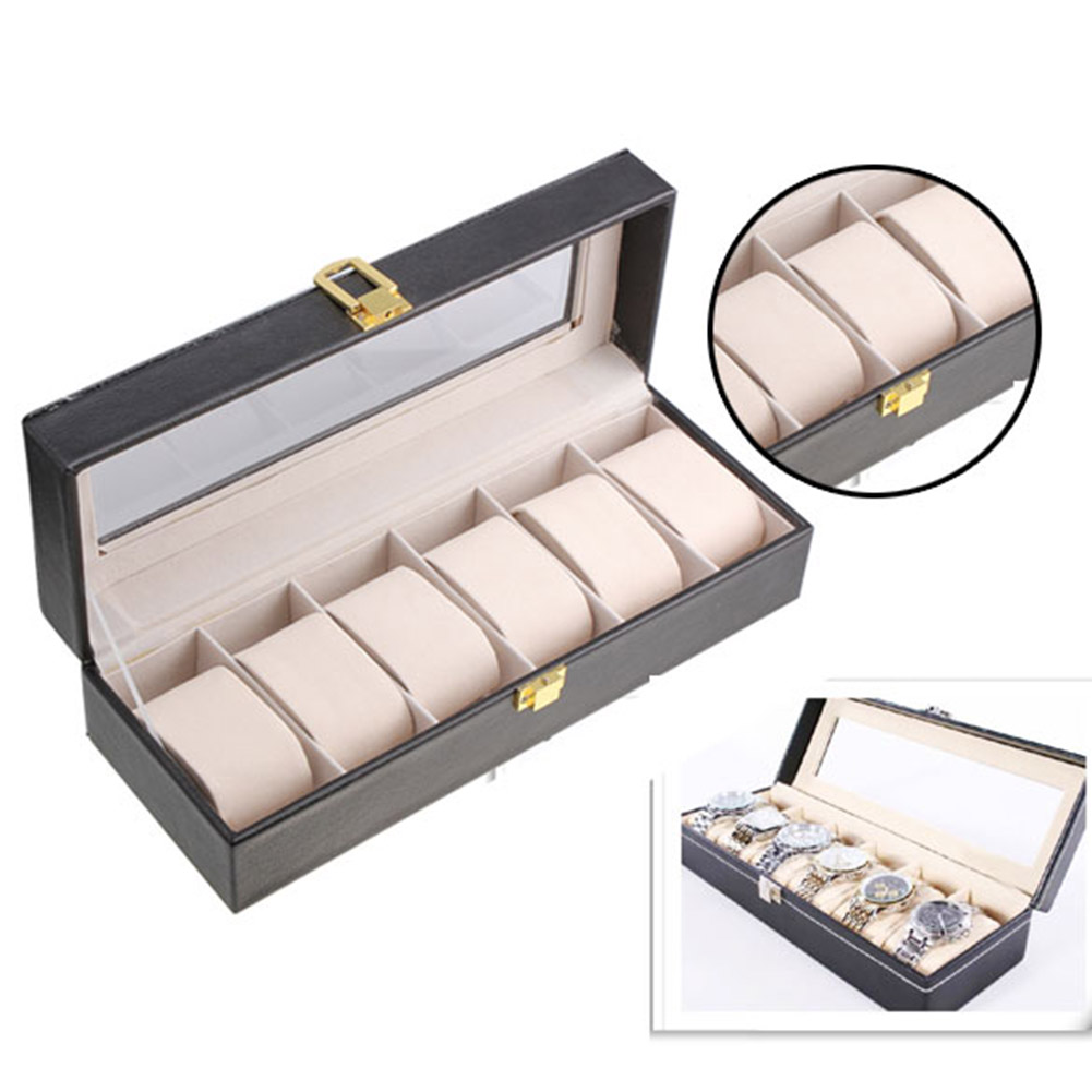 High Quality 6 Slots PU Leather Case Display Storage Box Table Watch Packaging box Gift Boxes LB
