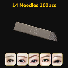 HOT SALEPermanent Makeup 14-Pin Needle 100PCS Blade Flat Manual Eyebrow Pen Tattoo Products Stainless Steel