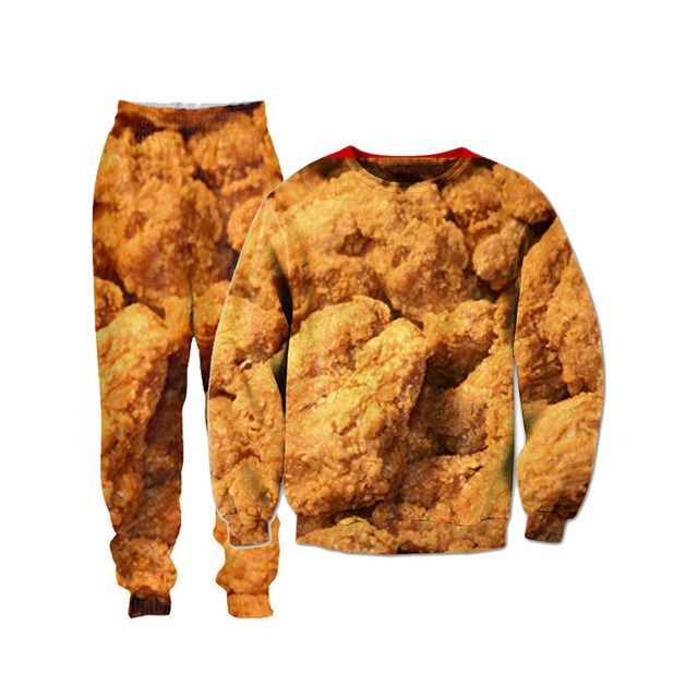Aliexpress Buy Fried Chicken Food 3d All Over Printed Crewneck