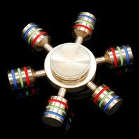 2017 New Metal Hexagonal Rainbow Hand Spinner 100 Brass Fidget Toy Fidget Spinner Light Edc Finger
