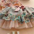 2016 Lovely Kid Girl Ribbon Bowknot Flower Tutu Skirt Princess Layer Floral Tulle Skirt