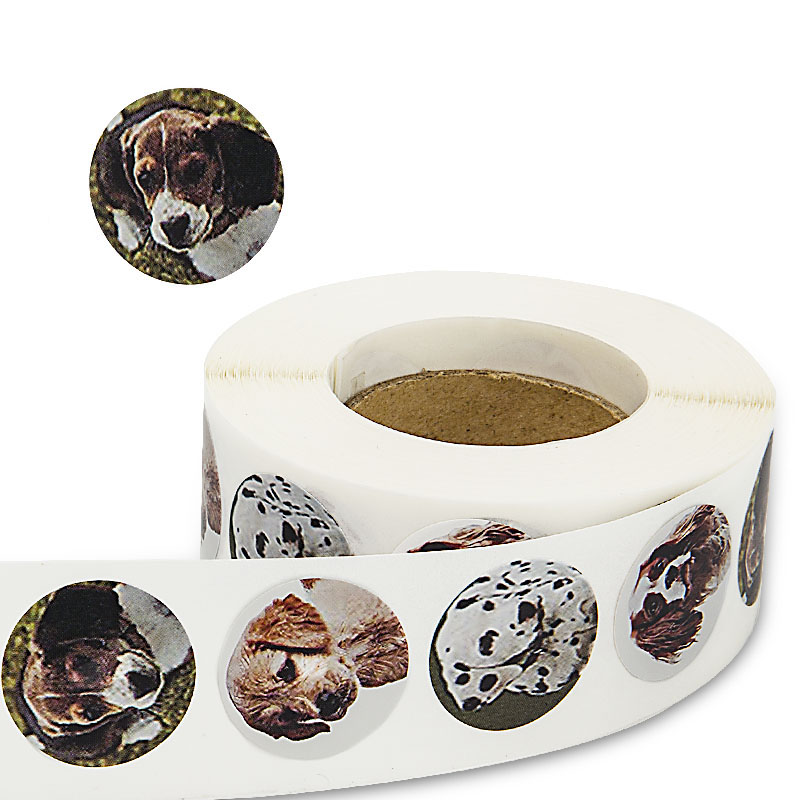 4 kinds dog Round Stickers 500 Labels per roll cute stickers for seal labels Adhesive sticker scrapboking children DIY decorate