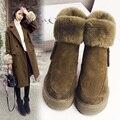 O Envio gratuito de Mulheres Moda Genuínos Ankle Boots de Couro Mulheres Botas de Inverno Ovelhas Cabelo Clássico Sapatos de Salto Alto Tamanho 35-39