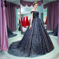 2017 New Collection Amazing Navy Blue Luxury Gliter Star Ball Gown Off The Shoulder Lace Up