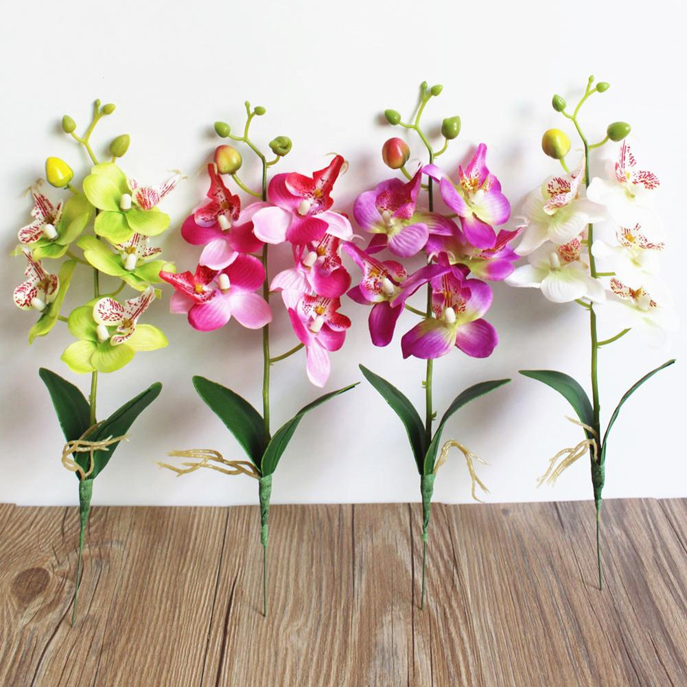 1PC Artificial Butterfly Orchid Silk Leaf Fake Flower Home Wedding Party Decor