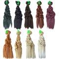 Цвет выбрать 15 см * 100 СМ коса кос Вьющиеся Коричневый Falxen Черного Цвета Хаки качество толщиной Кукла Парики волос для 1/3 1/4 1/6 BJD куклы