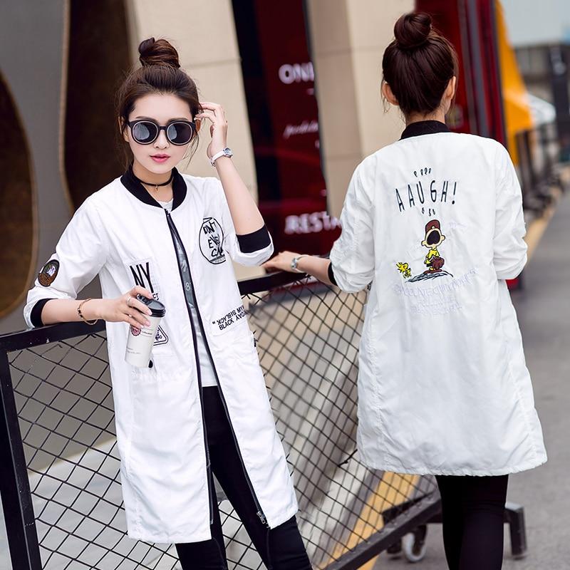 Новая Осень Женщины Длинные Тренч Пальто Плюс Размер Печати Письмо Emboridery Ветровка Уличной Моды Бейсбол Повседневная Пиджаки