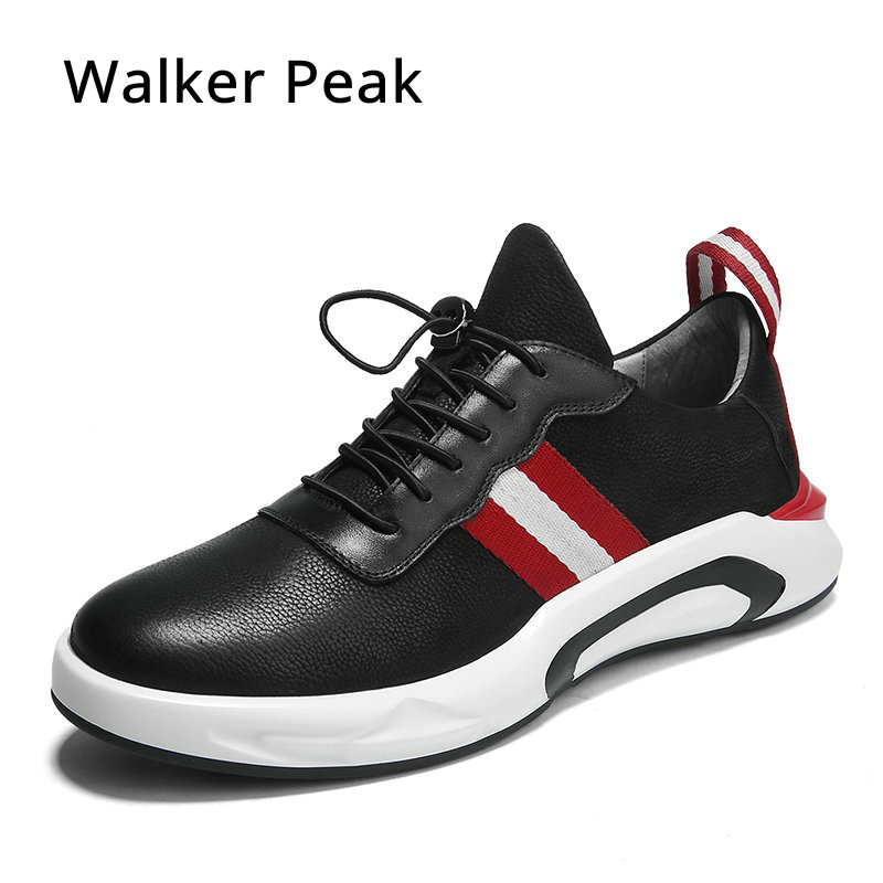 Fashion Genuine Leather Men Shoes Wear resistant Bottom Black Sneakers Men Cool Adult Casual Shoes Footwear