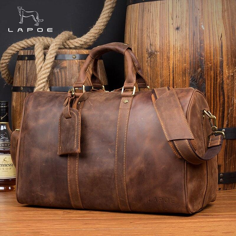 LAPOE Vintage bagages sac hommes voyage sacs bolsa de viagem grande de couro masculina fou cheval en cuir véritable hommes sac duffle