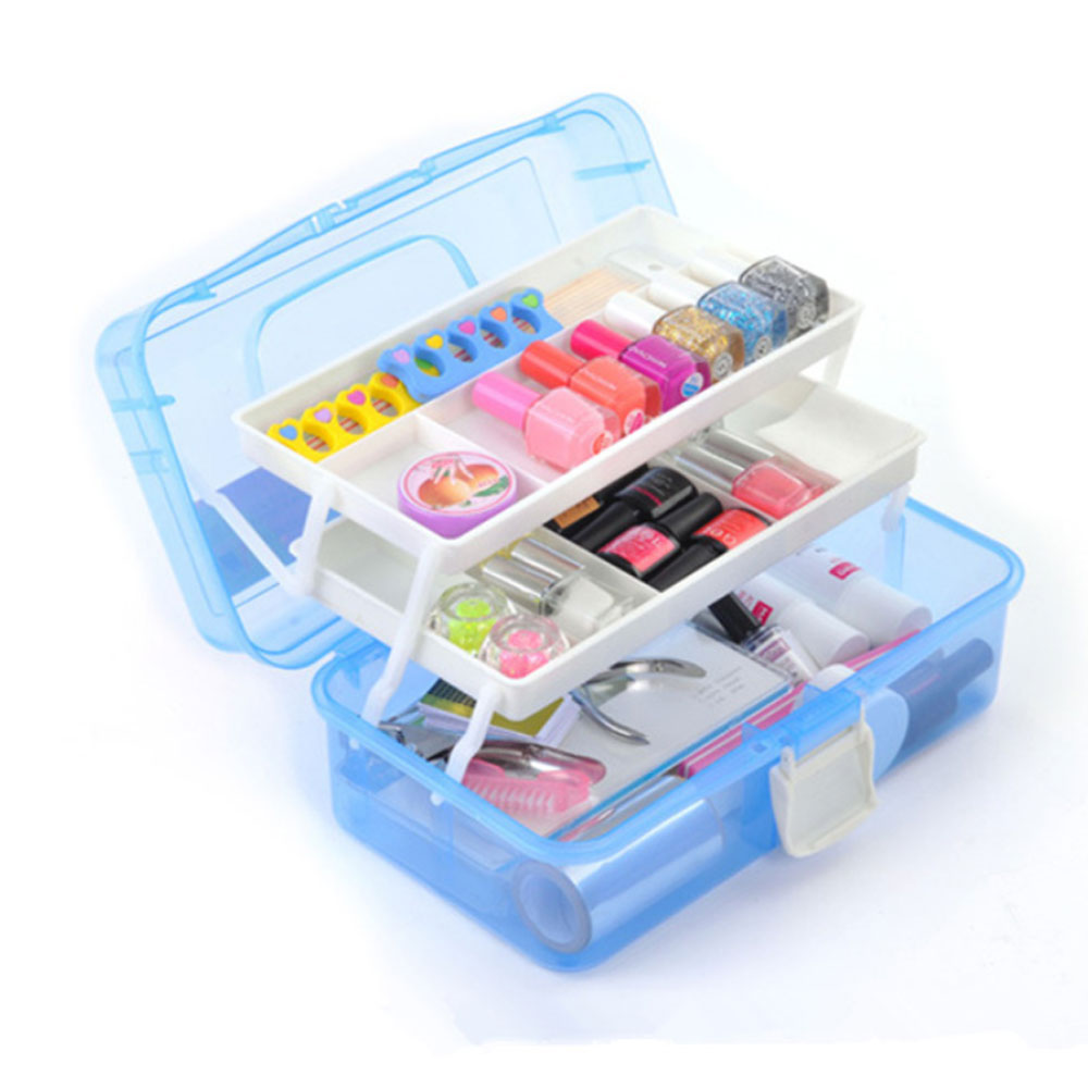 Nail Tool Box Multi functional Nail Storage Organizer Cosmetic Case Three layer Acrylic Nail Toolbox 33*20 15cm-in Nail Art Equipment from Beauty & Health    1