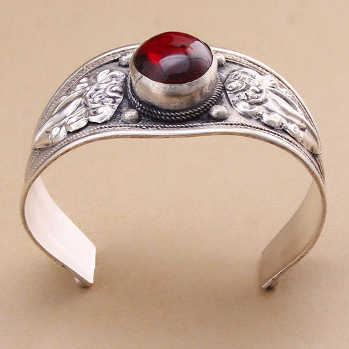 Raw Gemstone Statement Ring Unakite Chip Beads Wire Weave Art Nouveau Boho Adjustable Ring
