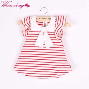 Cute Baby Girl Dress Summer Girl Cotton Striped Bow Dress Infant Clothing Birthday Dress for Girls Clothing 0-18M