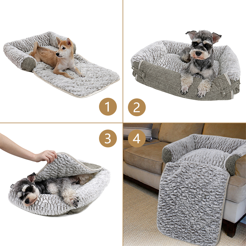 Divano per cani Pet Cat Soft Warm Pet Cuscino per cani Puppy Sofa 3 modi Usage Kennel Doggy Mats Dog Bed Large Dog House
