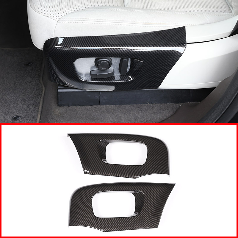 Carbon Fiber For Land rover Discovery 5 L462 LR5 2017-18 ABS Car Seat Side Cover Frame Trim For Range Rover Velar RR Sport 2018 abs chrome gloss black rear tail decoration frame cover trim for land rover discovery sport 2015 2017 car styling