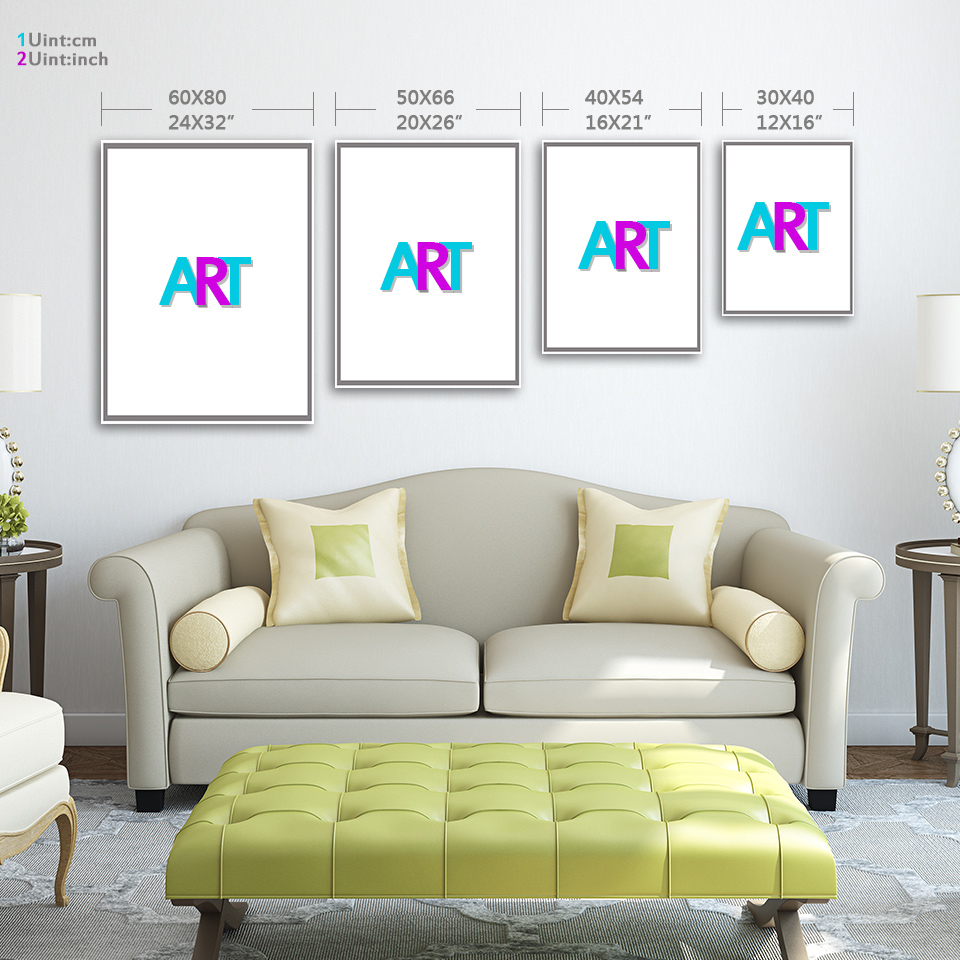 3 Pieces Canvas Painting Printed Animals and Letters Artwork Home ...