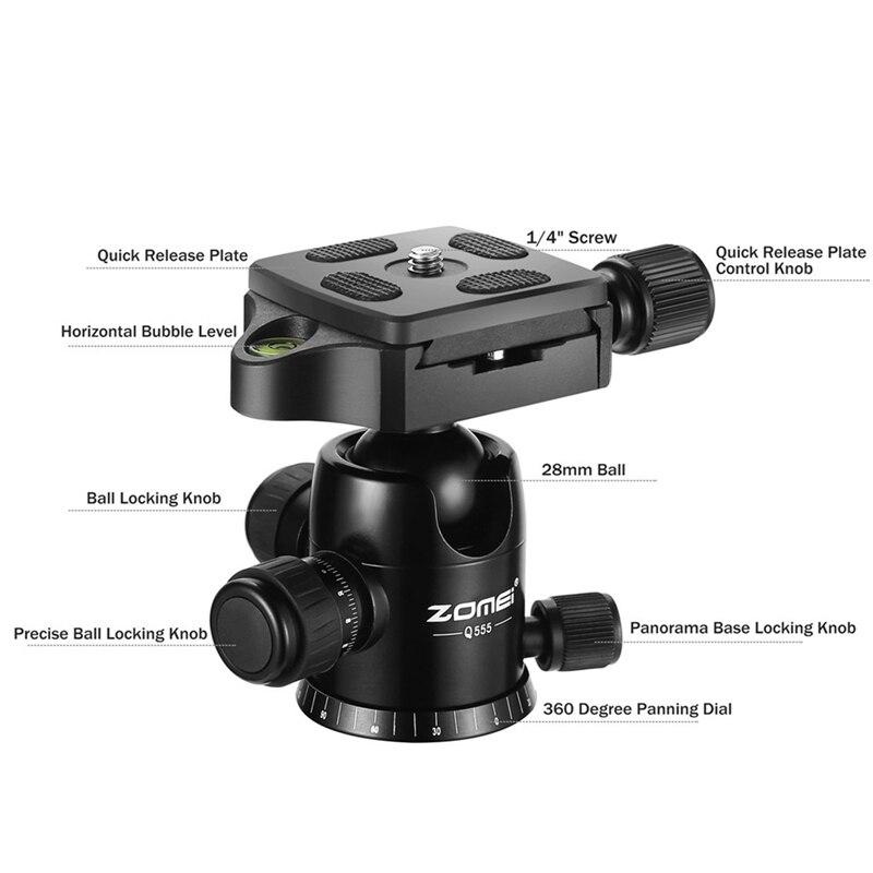 Zomei Q555 Professionnel Trépied En Aluminium Flexible Caméra Portable Trépied Stand Tripes avec Rotule pour appareil photo REFLEX NUMÉRIQUE Smartphones - 5
