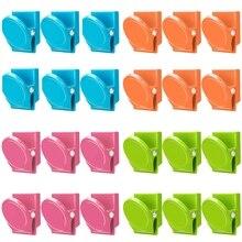 Clips magnétiques, 24 pièces Clips magnétiques en métal, réfrigérateur tableau blanc mur réfrigérateur magnétique mémo Note Clips aimants métal Cli