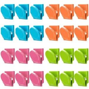 Image 1 - Clips magnétiques, 24 pièces Clips magnétiques en métal, réfrigérateur tableau blanc mur réfrigérateur magnétique mémo Note Clips aimants métal Cli