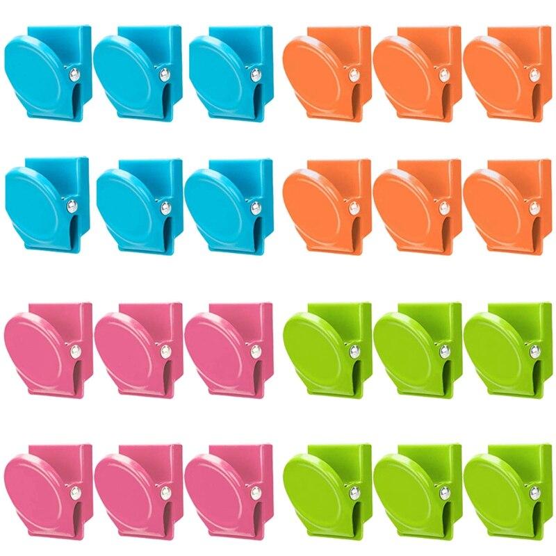 Magnetische Clips, 24 Stück Magnetische Metall Clips, Kühlschrank Whiteboard Wand Kühlschrank Magnet Memo Hinweis Clips Magneten Metall Cli