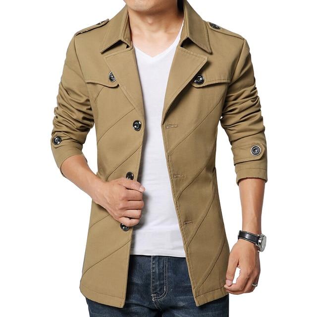 2016 New England vento de outono dos homens trincheira moda emblemas de lapela Design Slim Fit Mens Trench Coat Casual Windbreaker casaco bonito