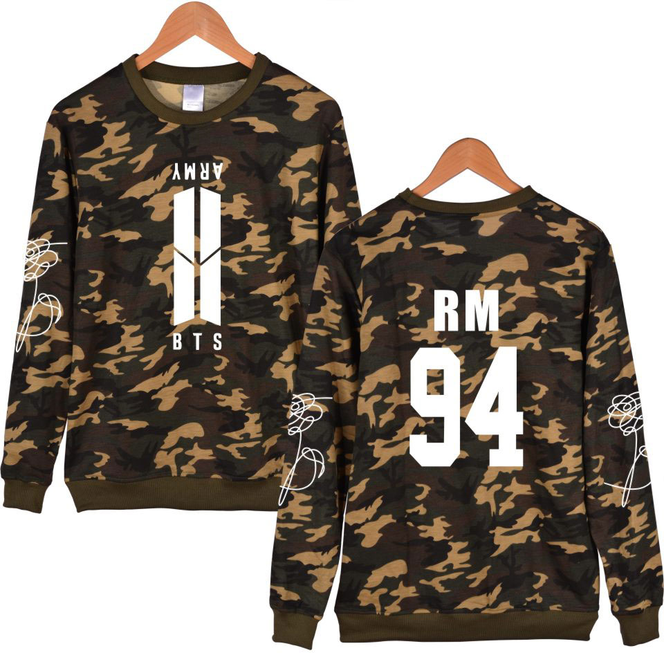 BTS K-pop Love Yourself ARMY Bangtan Boys Female Fans Unisex Capless Sweatshirt Camouflage Women Fashion Khaki Pullover