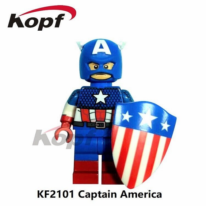 Super Heroes Single Sale Captain America Deadpool Wonder Woman Bricks Action Building Blocks Collection Toys for children KF2101 captain america super heroes red skull diy bricks single sale xh065 action figure building blocks toys for children