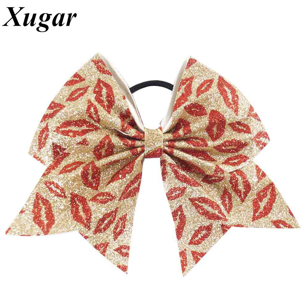 6'' Glitter Cheer Bow For Girls Handmade Hot Kiss Printed Boutique Hair Bow Elastic Bands Hair Holder Kids Hair Accessories pretty girls boutique shining glitter bow hair bands for dance party children toddler hair accessories