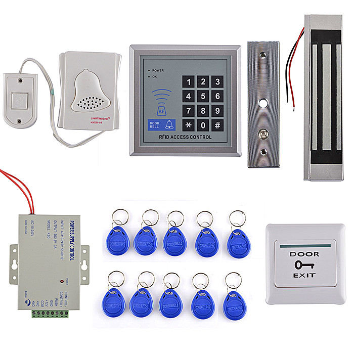Full Complete 125KHz Rfid Card Reader Door Access Control Security System Kit + 300LBS Electric Magnetic Lock diysecur magnetic lock door lock 125khz rfid password keypad access control system security kit for home office