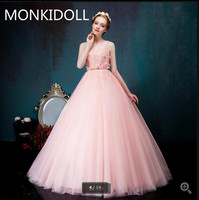 Vestido De Novia cheap ball gown prom dresses light pink sleeveless lace appliques with flower prom gowns sheer back prom dress